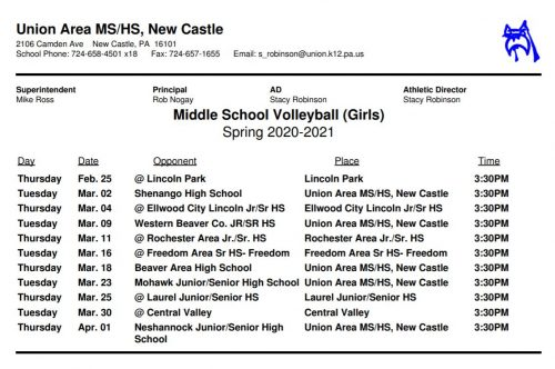 Middle School Girls Volleyball